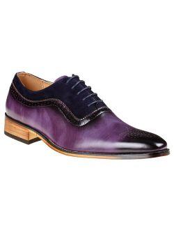 Gino Vitale Men's Lace Up Medallion Toe Dress Shoes