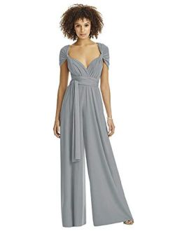 Dessy Collection Convertible Wide Leg Jersey Jumpsuit for Women in Platinum, X-Small
