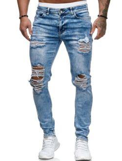 Men Ripped Pocket Detail Washed Jeans