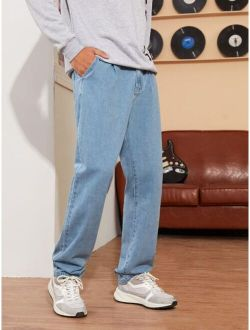 Men Washed Straight Leg Jeans