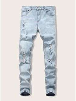 Men Zip Fly Ripped Skinny Jeans