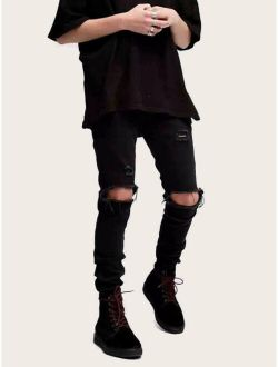 Men Solid Ripped Skinny Jeans