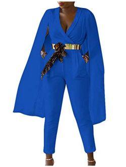 Women's Sexy Deep V Neck Side Slit Suit Cloak Cape Rompers Bodycon Cape Sleeve Long Pants Blazer Jumpsuits