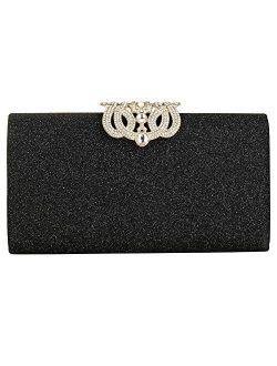 EROUGE Leather Sparkling Evening Clutch Purse Women Designer Handbag for Wedding Party