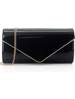 Dexmay Patent Leather Envelope Clutch Purse Shiny Candy Foldover Clutch Evening Bag for Women