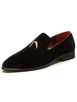CMM Men's Metallic Penny Slippers Flats Velvet Loafers Slip-On Dress Plus Size Shoes Size 6-13