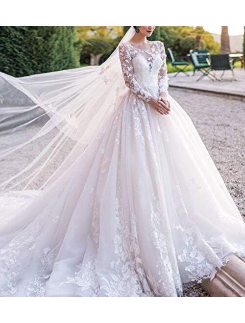 Yisha Bello Women's Chapel Train Wedding Dresses for Bride A-Line Lace Applique Long Sleeve Bridal Gowns