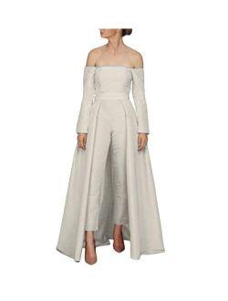Emmani Women's Off The Shoulder Prom Dress Jumpsuits Wdding Dresses with Detachable Skirt