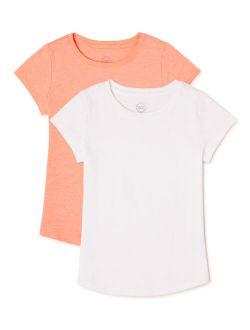 Girls Kid Tough Crew Neck T-shirts, 2-pack, Sizes 4-18 & Plus