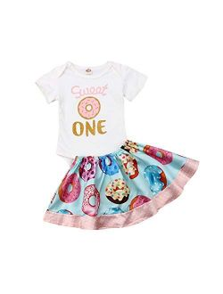 Toddler Baby Girls Donuts Cotton Sweet Bodysuits Romper + Skirts Baby Girl Summer Outfits