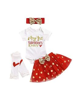 Infant Baby Girl My 1st Valentines Day Bodysuit Romper And Tutu Skirt With Headband Outfits