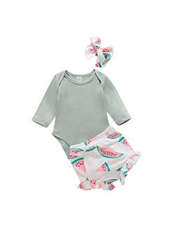 Infant Baby Girls Orangnic Cotton Ruffled Sleeve Bodysuit Tops + Floral Shorts Baby Girl Clothes Set