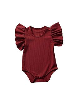 Toddler Baby Girl Ruffled Short Sleeve Organic Cotton Bodysuit Romper Solid Casual Tops Onesies Summer Clothes