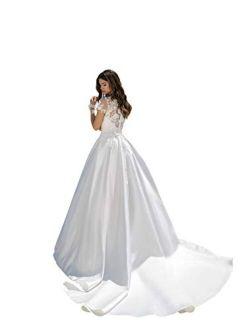 A-line Satin Floral net Wedding Dress