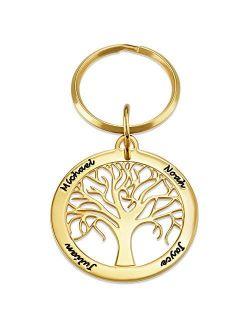 MyNameNecklace Personalized Unisex Family Tree Keychain - Engraved Custom Name Jewelry Christmas Gift