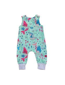 Newborn Baby Boys Girls Cotton Cartoon Sleeveless Romper Jumpsuit One Piece Playsuit Baby Clothes