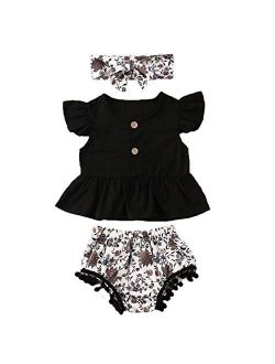 Toddler Baby Girls Button Ruffled Sleeve Shirts Tops and High Waisted Shorts with Headband Baby Girl Outfits