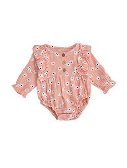 Toddler Baby Girls Floral Ruffled Sleeve Onesies Bodysuit Outfit Long Sleeve Baby Girl Romper Onesie