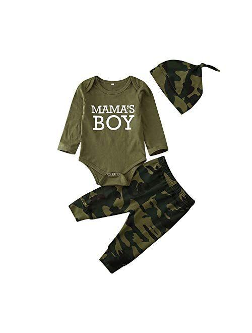 Multitrust Infant Baby Boys Girls Cotton Camouflage Onesie Bodysuit and Long Pants 2pcs Romper Set Baby Clothes Set