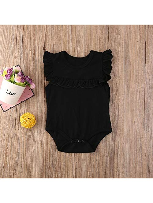 Multitrust Toddler Baby Girl Ruffled Sleeveless Organic Cotton Bodysuit Romper Solid Tops Onesies Summer Clothes