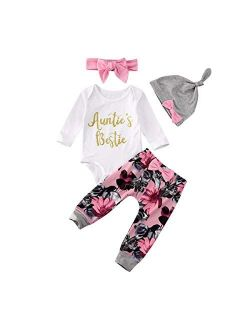 Newborn Baby Girl Boy Cotton Funny Letter Bodysuit Romper Tops + Floral Harem Pants Clothes Set