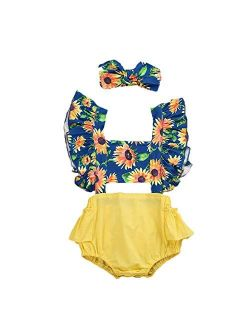 Infant Baby Girls Floral Ruffled Sleeveless Romper Bodysuit wit Headband One Piece Onesie Jumpsuit Outfits