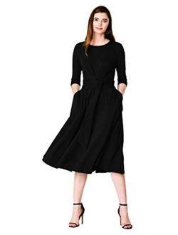 Fx Obi Black Cotton Jersey Knit Flared Dress