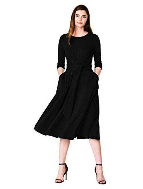 eShakti FX OBI Black Cotton Jersey Knit Flared Dress