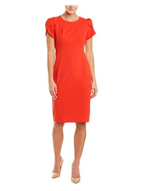 Donna Morgan Women's Tulip Sleeve Crew Neck Crepe Sheath Dress