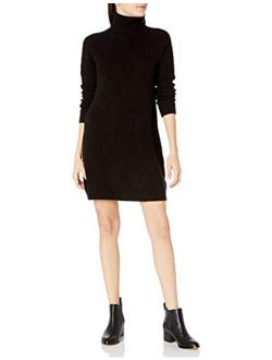 kensie Women's Soft Fuzzy Waffle Knit Turtleneck Sweater Dress