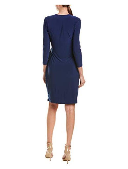 Anne Klein Women's Classic V-Neck Faux Wrap Dress