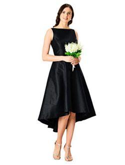 Fx Bow-tie Waist High-low Dupioni Dress - Customizable Neckline, Sleeve & Length