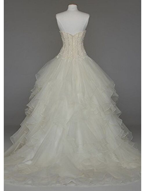 David's Bridal Oleg Cassini Strapless Ruffled Skirt Wedding Dress Style CWG568