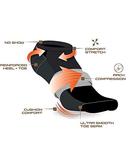 AND1 Men's Athletic Arch Compression Cushion Comfort No Show Socks (12 Pack)