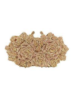 Dazzling Flower Crystal Evening Bags For Women Formal Wedding Party Cocktail Clutch Handbag Purse