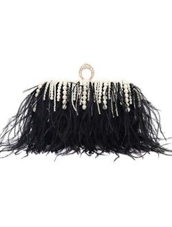 ZAKIA Ostrich Feather with Beads Pearls Bag Clutches Evening Bag for Women Gatsby Bag Wedding Cocktail Birthday Party Purse