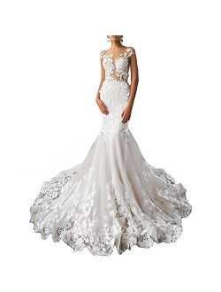 Alanre Backless Bridal Gowns Flower Lace Wedding Dresses for Bride Mermaid Dress
