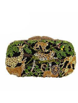 Dazzling Bling Animal Purses For Women Crystal Clutch Evening Bag Wedding Party Handbag