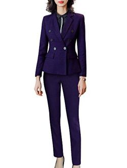 Women's Formal Two Piece Solid Blazer Sets Double Breasted Notched Office Lady Suit Set Work Blazer Jacket Pant