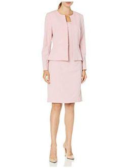 Women's Collarless Peplum Jacket And Dress Set