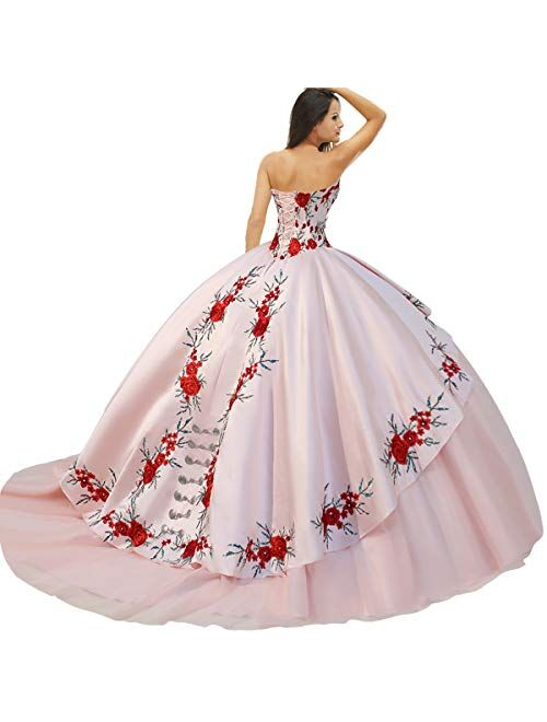 Medallions Accented Basque Mexican Charro Quinceanera Dress with Floral Applique