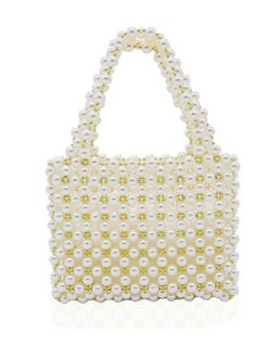 Miuco Women's Vintage Style Pearl Tote Bags Evening Clutch Wedding Purse
