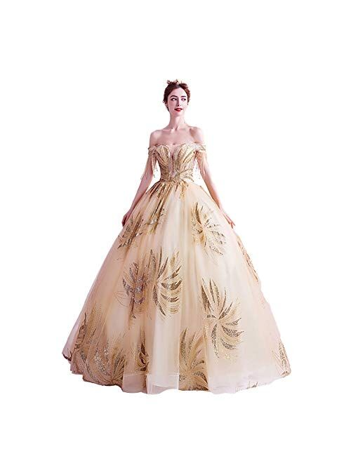 zjyfyfyf Women's Wedding Dresses Bridal Embroidery Ball Gowns Formal Party Bride Dress Lace Tulle Long Skirt