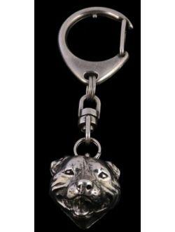 English Staffordshire Bull Terrier (3d Medallion), Silver Hallmark 925, Silver Dog Keyring, Keychain, Limited Edition, Artdog