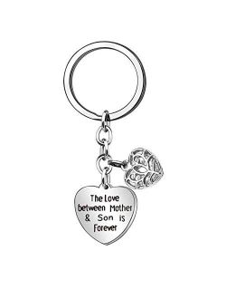 Keycahin Mother's Day Gifts for Mom Personalized Key Chain Charm Key Ring Bracelet for Women