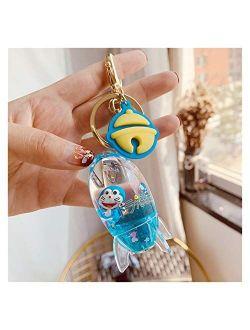 YSHSPED Keychain Cartoon Cute Keychain Creative Tea Cup Liquid Crystal Quicksand Sequin Key Ring Bag Pendant for Women Bag Key Chain (Color : 6)