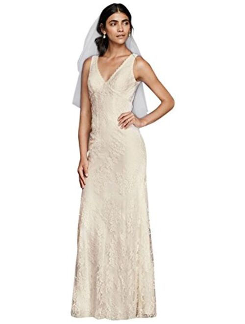 David's Bridal Flower Lace V-Neck Wedding Dress with Empire Waist Style KP3783