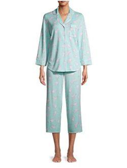 Dogs Aqua Reef 3/4 Sleeve Notch Collar Pajama Sleep Set