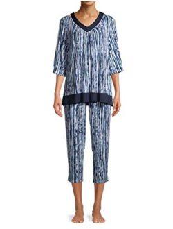 Stripes Arctic White 3/4 Sleeve V-Neck Pajama Sleep Set