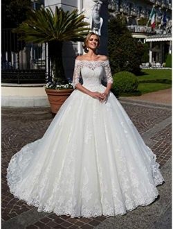 Rmaytiked Women's Wedding Dresses Ball Gown 3/4 Sleeves Lace Tulle Off The Shoulder Wedding Dresses for Bride